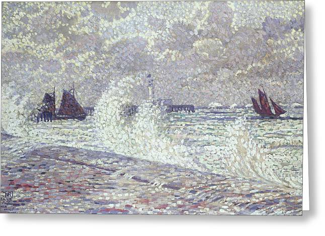 Seacoast Greeting Cards - The Sea during Equinox Boulogne-sur-Mer Greeting Card by Theo van Rysselberghe