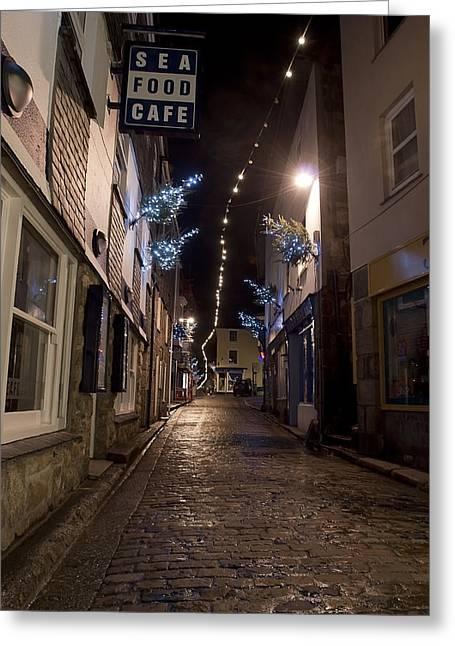 Night Cafe Greeting Cards - The Sea Food Cafe Greeting Card by Kieran Brimson