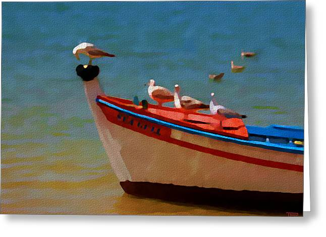 Tall Ship Mixed Media Greeting Cards - The Sea Gulls Greeting Card by Jann Paxton