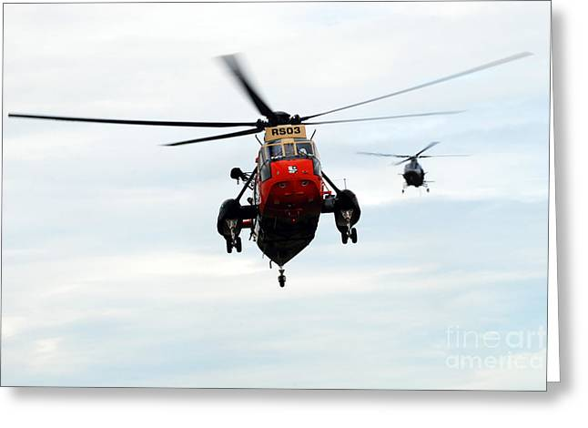 Air Component Greeting Cards - The Sea King Helicopter And The Agusta Greeting Card by Luc De Jaeger