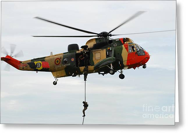 Fast-roping Greeting Cards - The Sea King Helicopter Of The Belgian Greeting Card by Luc De Jaeger
