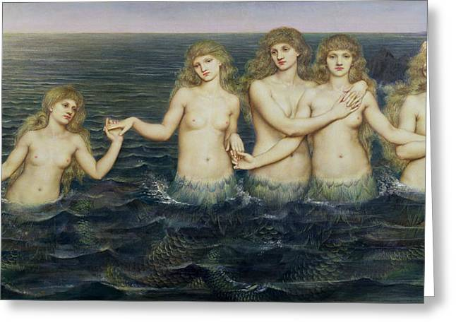 Fairy Tales Greeting Cards - The Sea Maidens Greeting Card by Evelyn De Morgan