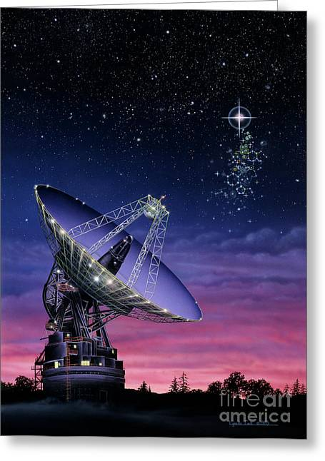 Exoplanet Paintings Greeting Cards - The Search for Extraterrestrial Intelligence Greeting Card by Lynette Cook