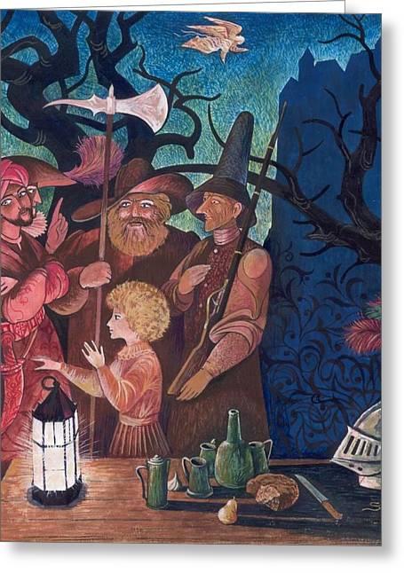 Night Angel Drawings Greeting Cards - The Secret Fellowship Greeting Card by Sergei Pimenov