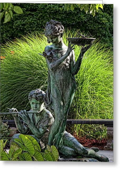 Bird Bath Greeting Cards - The Secret Garden Memorial Statue and Bird Bath Greeting Card by Robert Ullmann