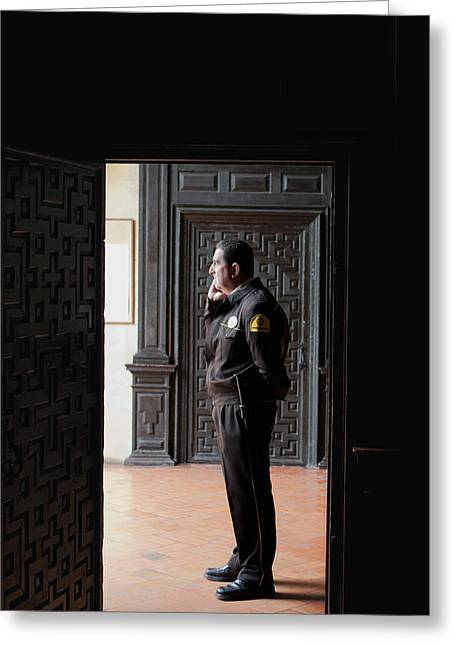 Southern Province Greeting Cards - The Security Guard Greeting Card by Lorraine Devon Wilke