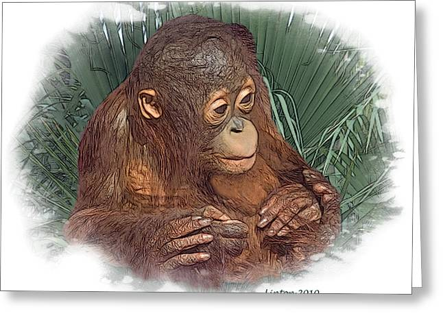 Orangutan Digital Art Greeting Cards - The Security Of A Mothers Hands Greeting Card by Larry Linton