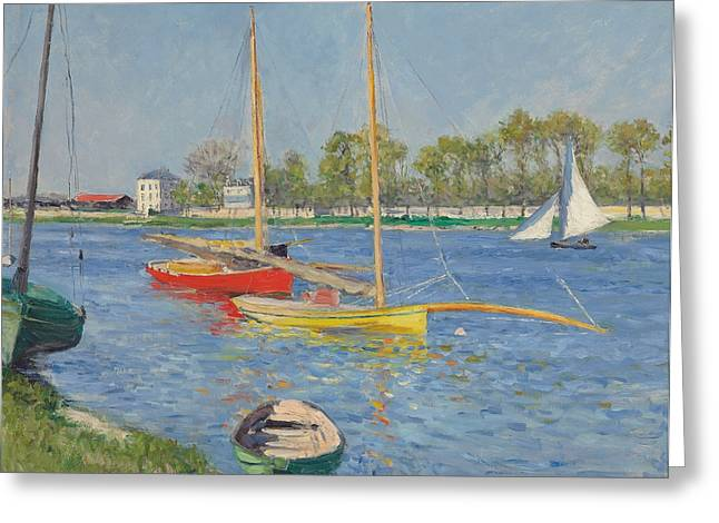 Riverscapes Greeting Cards - The Seine at Argenteuil Greeting Card by Gustave Caillebotte