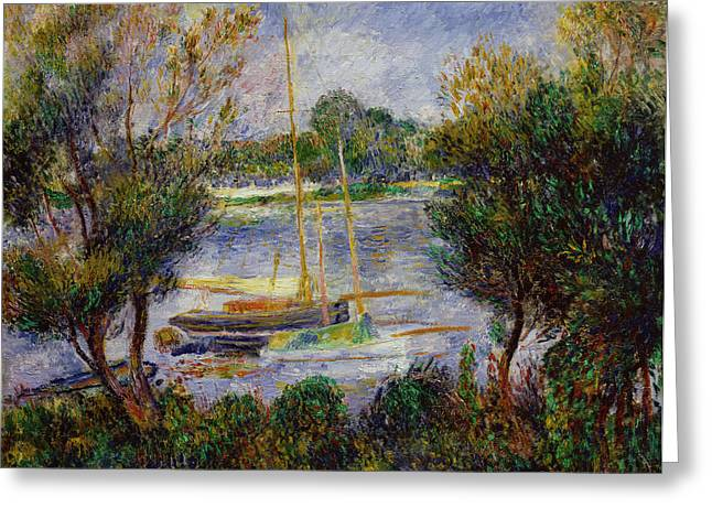 Calm Paintings Greeting Cards - The Seine at Argenteuil Greeting Card by Pierre Auguste Renoir