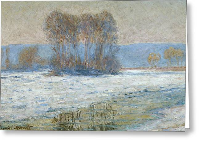 Reflections On Snow Greeting Cards - The Seine at Bennecourt Greeting Card by Claude Monet