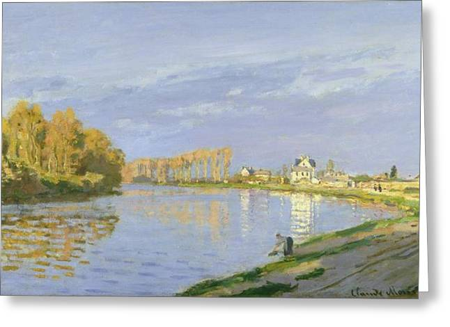 Bougival Greeting Cards - The Seine at Bougival Greeting Card by Claude Monet