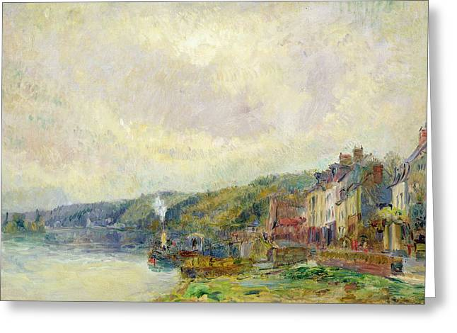 River Paintings Greeting Cards - The Seine at Croisset Greeting Card by Albert Charles Lebourg