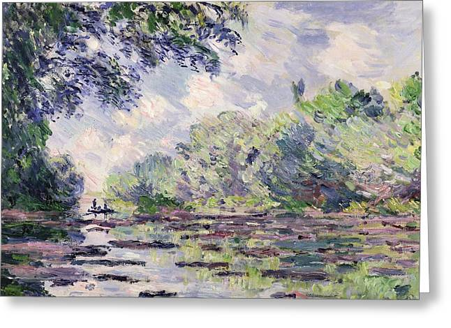 Overhang Paintings Greeting Cards - The Seine at Giverny Greeting Card by Claude Monet