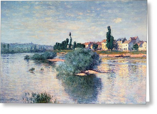 River. Clouds Greeting Cards - The Seine at Lavacourt Greeting Card by Claude Monet