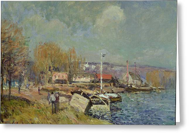 The Houses Greeting Cards - The Seine at Port-Marly Greeting Card by Alfred Sisley