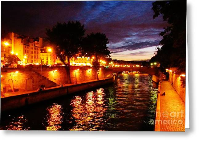 John Malone Artist Greeting Cards - The Seine at Sunset Greeting Card by John Malone