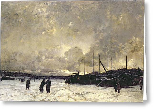 Wintry Greeting Cards - The Seine in December Greeting Card by Luigi Loir