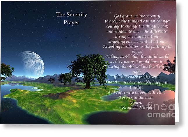 Mountains Mixed Media Greeting Cards - The Serenity Prayer Greeting Card by Heinz G Mielke