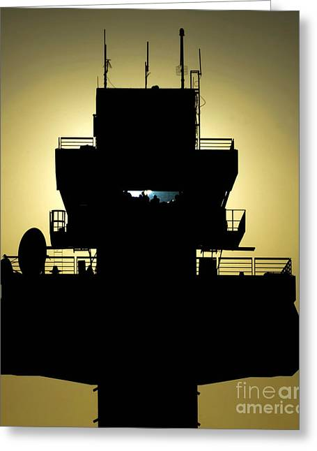 Guard Tower Greeting Cards - The Setting Sun Silhouettes An Air Greeting Card by Stocktrek Images