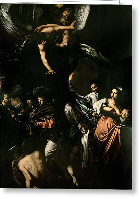 Breast Feeding Greeting Cards - The Seven Works of Mercy Greeting Card by Caravaggio