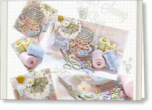 Scissors Greeting Cards - The Sewing Box Greeting Card by Sandra Rossouw