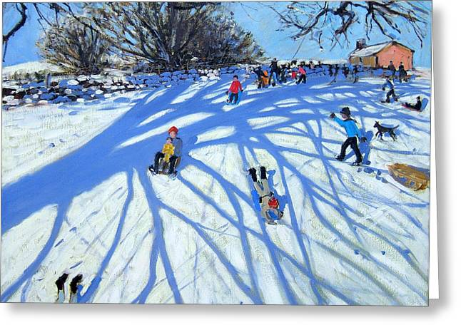 Toboggan Greeting Cards - The shadow Derbyshire Greeting Card by Andrew Macara