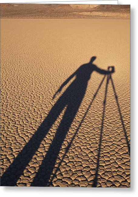 Dry Lake Greeting Cards - The Shadow Of A Photographer Greeting Card by Rich Reid