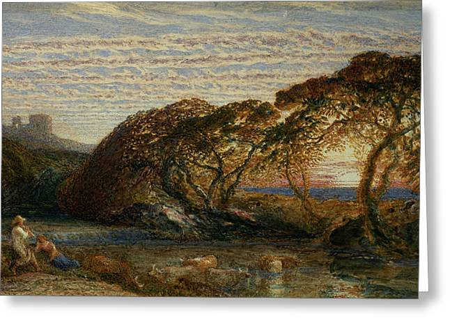 Samuel (1805-81) Greeting Cards - The Shadowy Stream Greeting Card by Samuel Palmer