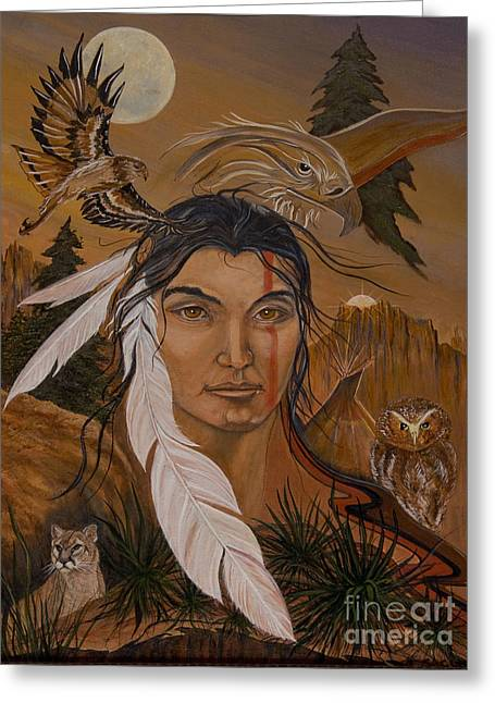 The Shaman Greeting Card by Jeanette Sacco-Belli