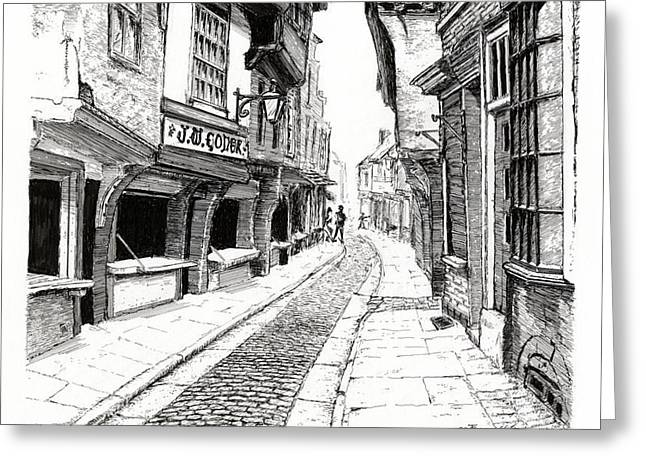 Pen And Ink Framed Prints Greeting Cards - THE SHAMBLES  York England Greeting Card by John Simlett