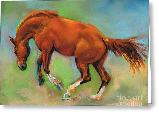 Bucking Horses Greeting Cards - The Sheer Joy of It Greeting Card by Frances Marino
