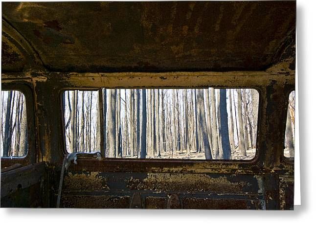 Personal-growth Greeting Cards - The Shell Of A Burnt Out Car Rests Greeting Card by Jason Edwards
