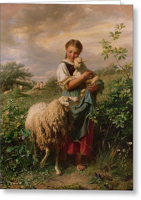 Shepherds Greeting Cards - The Shepherdess Greeting Card by Johann Baptist Hofner