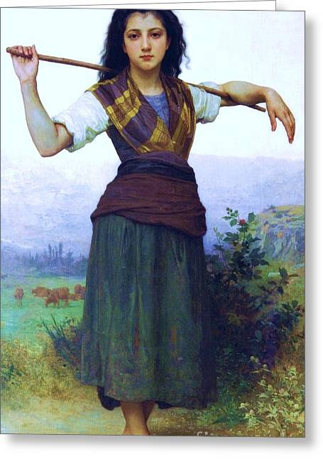 The Shepherdess Greeting Card by Pg Reproductions