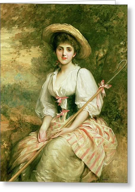 Shepherd Staff Greeting Cards - The Shepherdess Greeting Card by Sir Samuel Luke Fildes