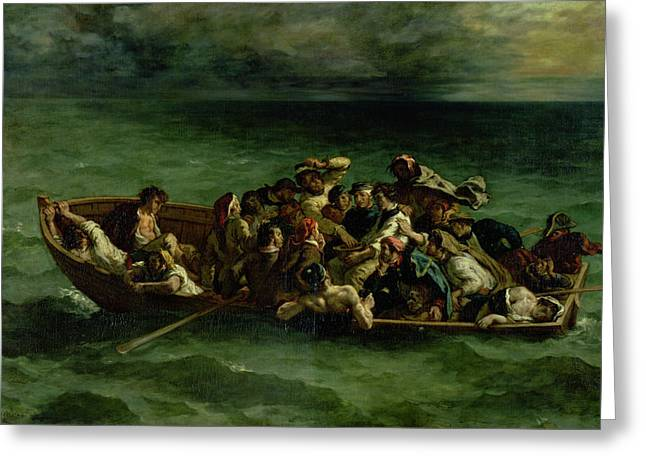 Horror Drawings Greeting Cards - The Shipwreck of Don Juan Greeting Card by Ferdinand Victor Eugene Delacroix