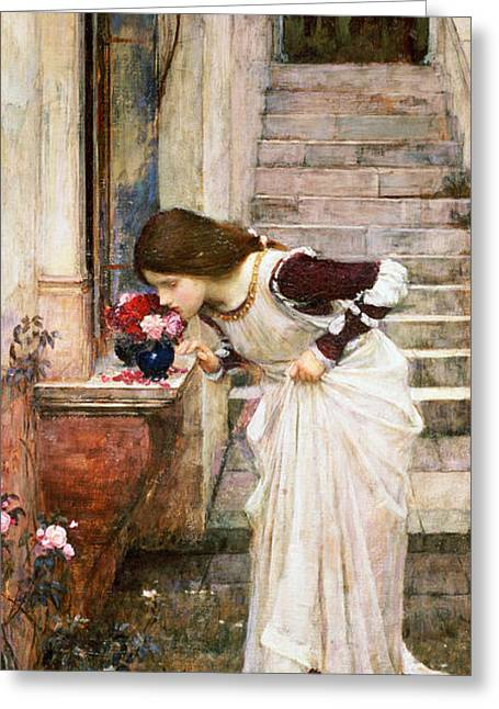 Pre-raphaelite Greeting Cards - The Shrine Greeting Card by John William Waterhouse