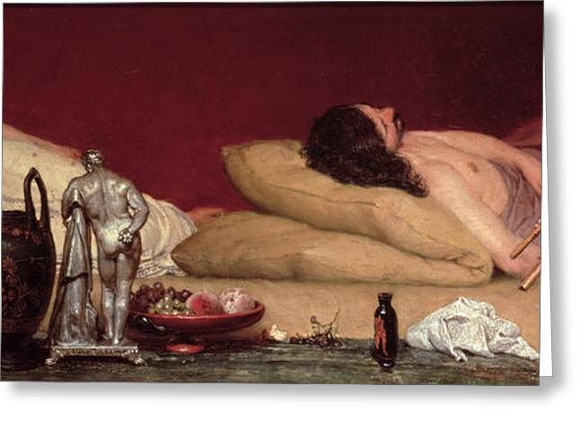 Cushion Paintings Greeting Cards - The Siesta Greeting Card by Sir Lawrence Alma-Tadema