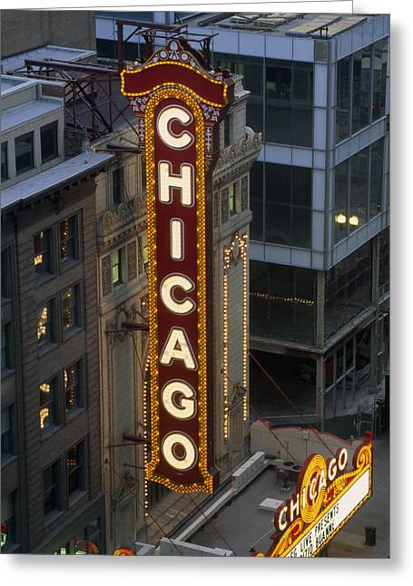 Art Of Building Greeting Cards - The Sign Outside The Chicago Theater Greeting Card by Paul Damien