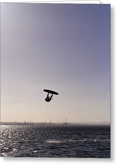 Kite Surfing Greeting Cards - The Silhouette Of A Person Kite Greeting Card by Jason Edwards