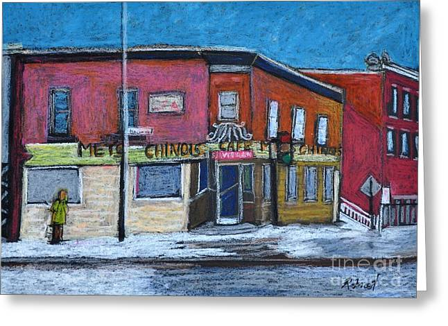 Streets Pastels Greeting Cards - The Silver Dragon Restaurant Verdun Greeting Card by Reb Frost