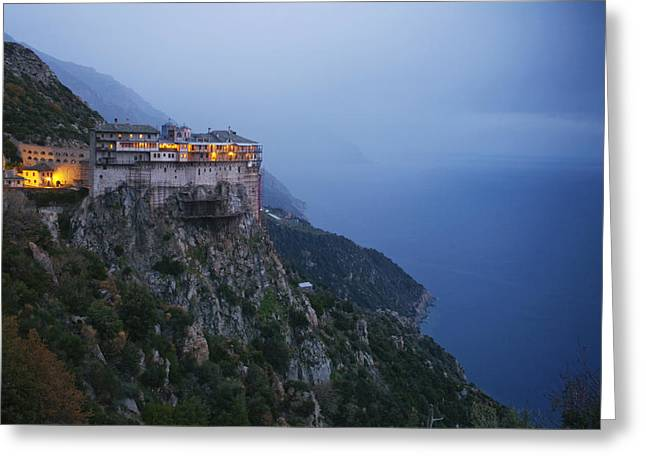 Edge Of The Cliff Greeting Cards - The Simonos Petras Monastery 800 Feet Greeting Card by Travis Dove