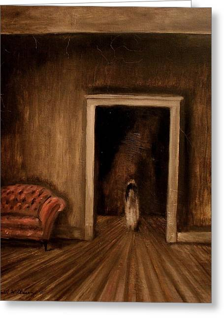 """haunted House"" Paintings Greeting Cards - The Sisters Greeting Card by Daniel W Green"