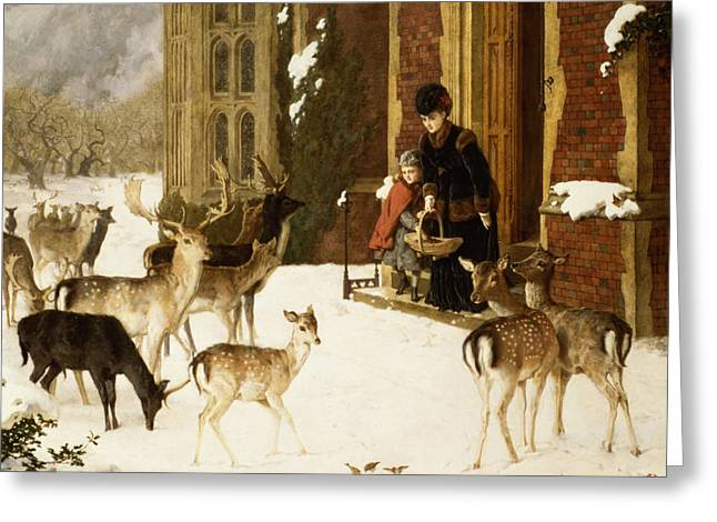 Snowfall Greeting Cards - The Sisters of Charity Greeting Card by Charles Burton Barber