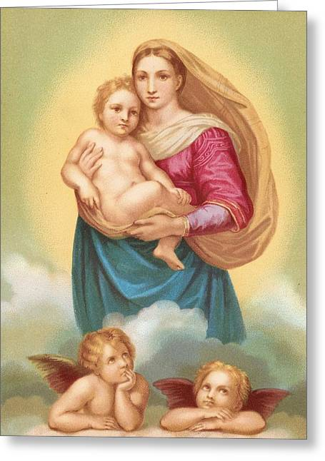 Middle East Greeting Cards - The Sistine Madonna Greeting Card by Raphael