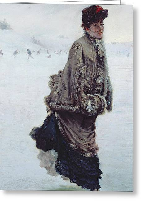 Snow-coated Greeting Cards - The Skater Greeting Card by Joseph de Nittis