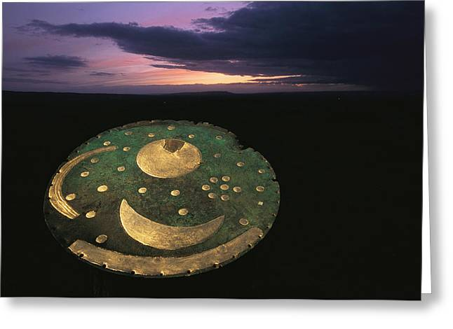 Disk Greeting Cards - The sky disk against a Greeting Card by Kenneth Garrett