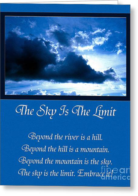 Inspirational Saying Greeting Cards - The Sky Is The Limit Greeting Card by Andee Design
