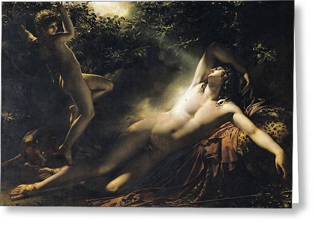 Slumbering Greeting Cards - The Sleep of Endymion Greeting Card by Anne Louis Girodet de RoucyTrioson