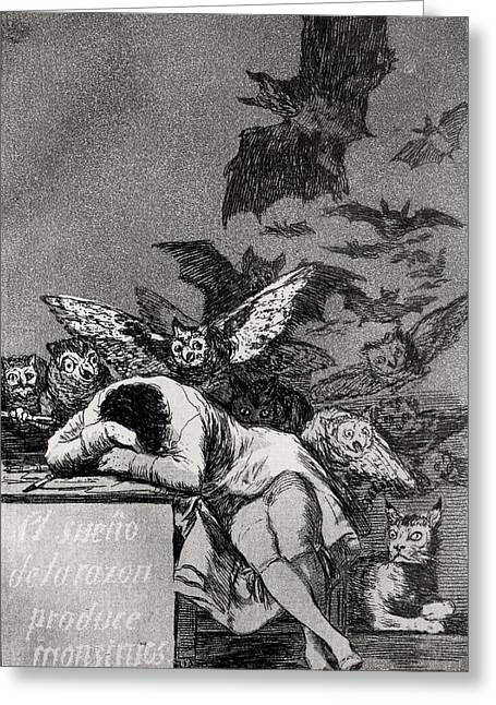 1828 Greeting Cards - The Sleep of Reason Produces Monsters Greeting Card by Goya
